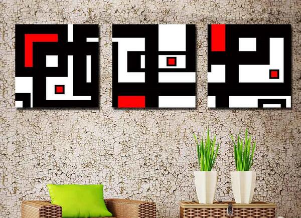 Modern abstract 3 pieces wall oil painting black red and for Modern black and white wall art