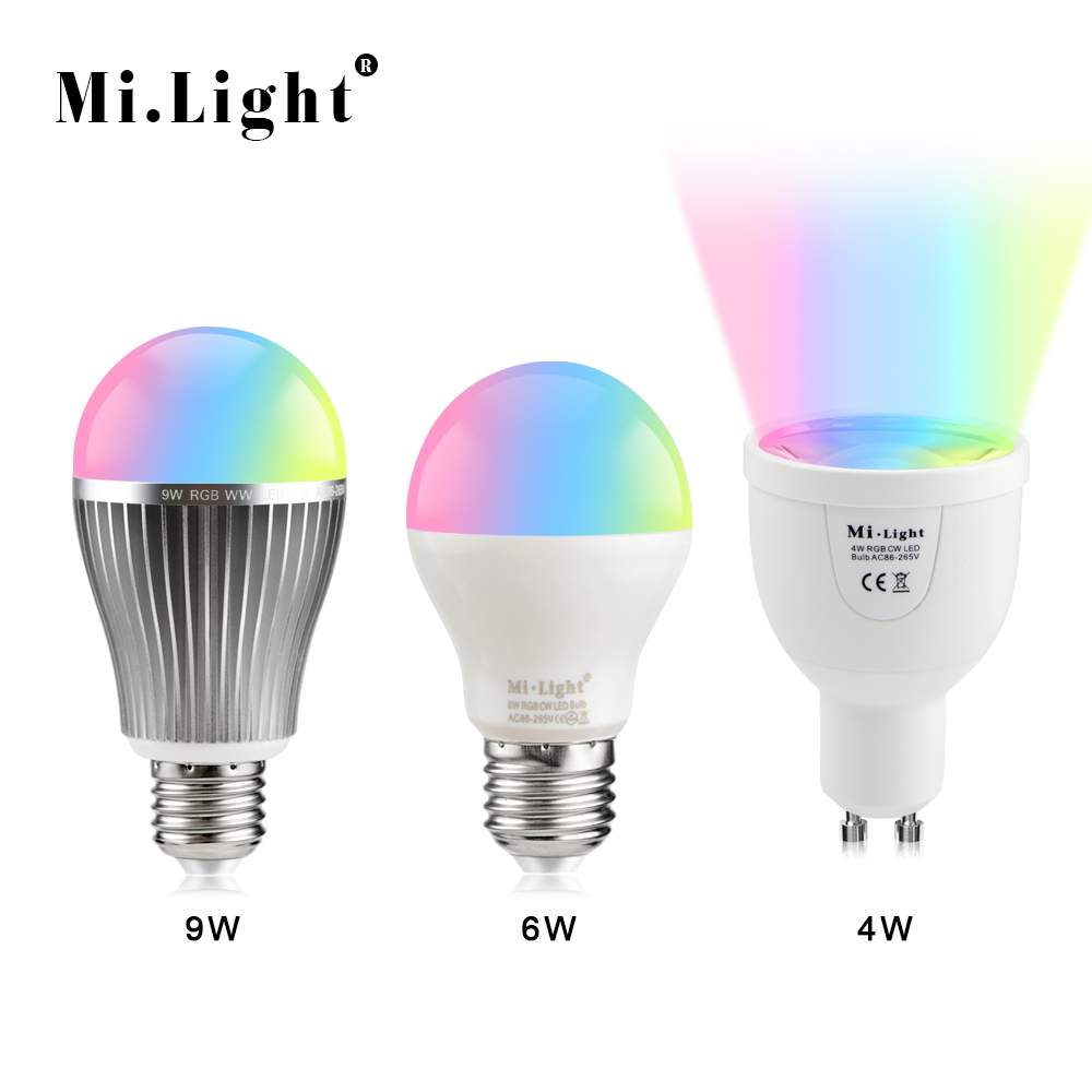 Led smart night lamp - 1 X 2 4g Rf Wireless Dimmable Mi Light Led Bulb E27 Gu10 4w 6w 9w Rgbw Rgb Ww 110v 220v Smart Lamp For Home Decor Night Lighting