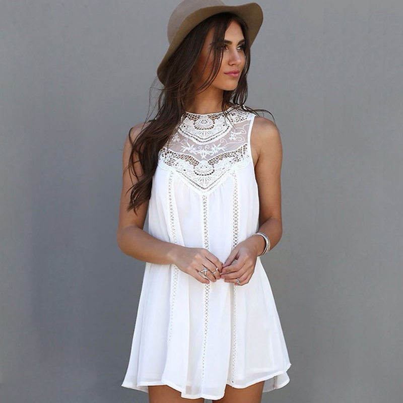 Blanco de La Gasa Vestido de Verano de la Playa Vestidos de Una Línea de Patchwo
