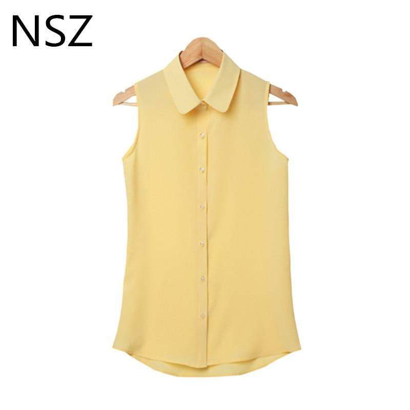 NSZ Women Chiffon Blouse Sleeveless Summer Shirt Plus Size Turn-down Solid Vest Tops Blusas Mujer Camisa Feminina