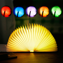Portable USB Rechargeable Nightlight  LED Wooden/Leather Foldable Mini Book Shape Light Desk Night Lamp for Living Room Decor