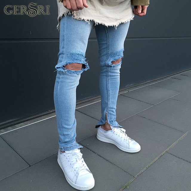 eae49030c59d Gersri Vintage Men Jeans Hole Pants Light Blue Skinny Jeans Male Fashion  Ripped Tore Up Men Jeans New All-match Male Trousers