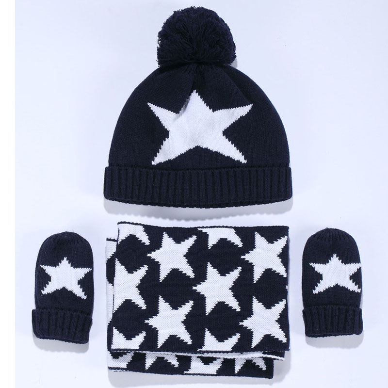 Winter Warm Kids Scarf Hat Gloves Sets Baby Boys Knitted Caps Pom Poms Ball  Star Children s Thicken Caps Beanies Mittens set-in Scarf 52a083edf0a