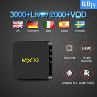 IPTV Sweden Box Android 8.1 MX10 RK3328 4G 64G with 1 Year IUDTV Code IPTV Italy Spain Portugal Arabic Sweden IPTV Subscription