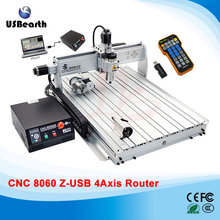 CNC Router 8060Z 2200W VFD Spindle CNC Machine with USB Port, 4 axis cnc cutting machine with free handwheel
