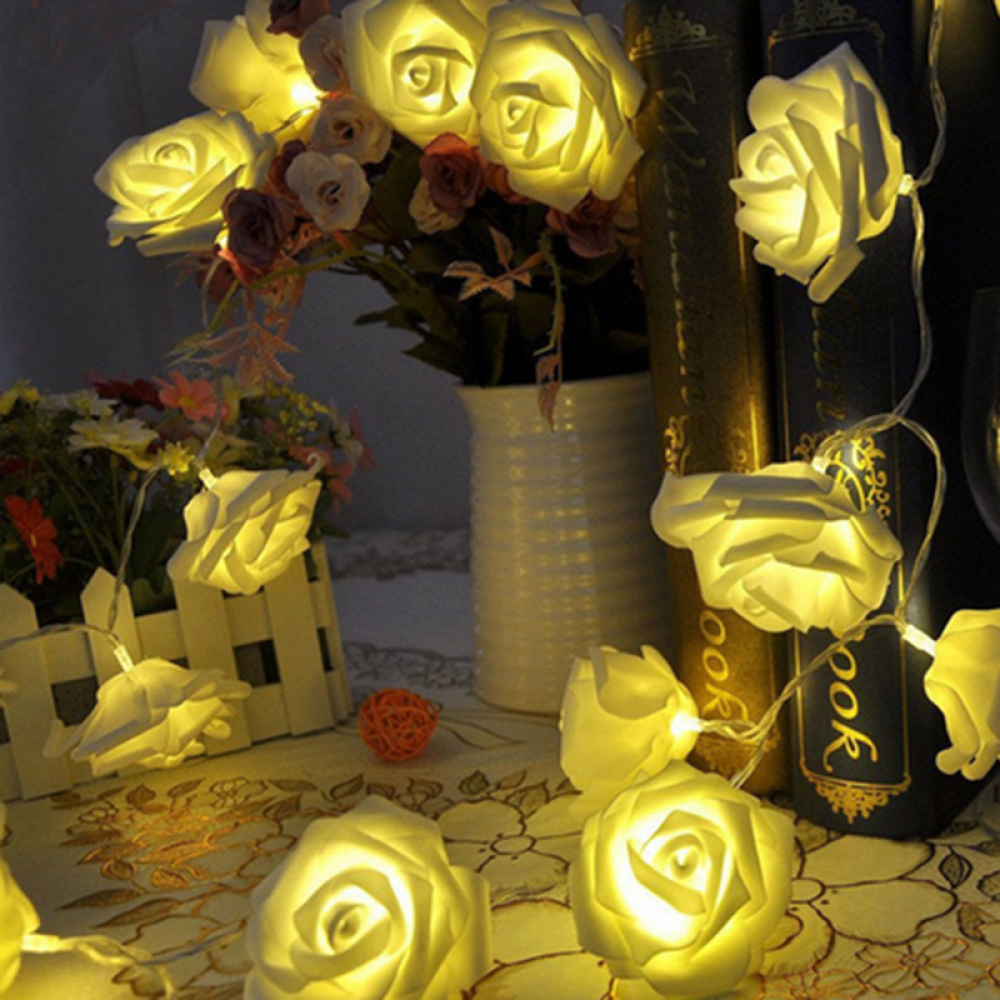 Lovely Holiday 20 LED Rose Flower Fairy String Light Wedding Party Christmas Decoration