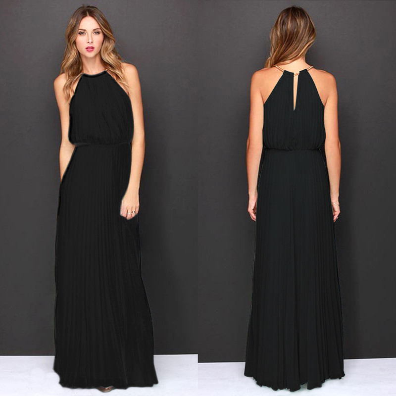 2018 New Womens Solid Party Beach Sophisticated Swing Dress Halter Maxi Sleeveless Summer Chiffon Dress Mid Rise Thin