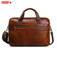 Genuine leather Men briefcase retro business 15 laptop handbags Cowhide male travel messenger bag brown leather crossbody bags