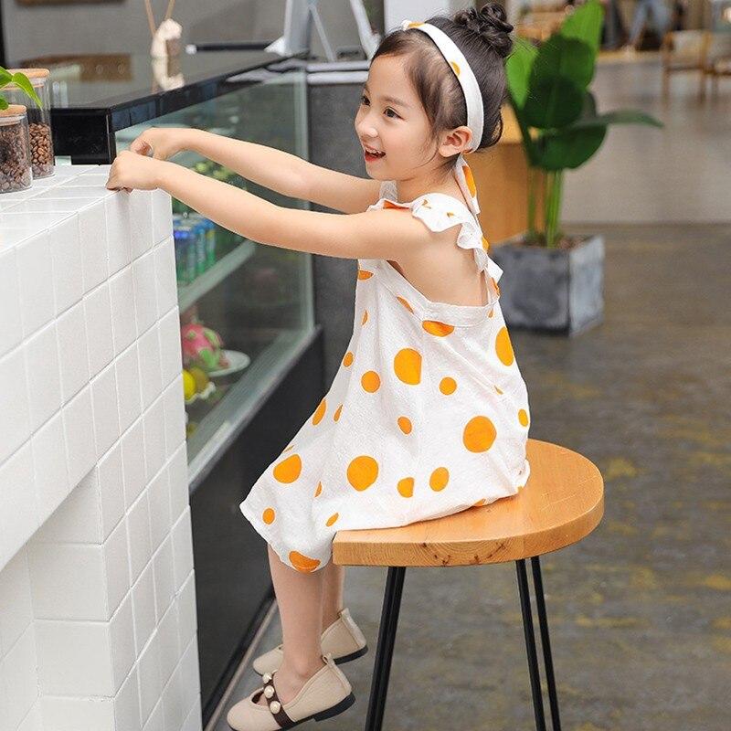 2018 New Cute Children's Dress Baby Girl Summer Dress Children's Flying Sleeve Dress fashion dot print Children's Clothing bishop sleeve tropical print dress