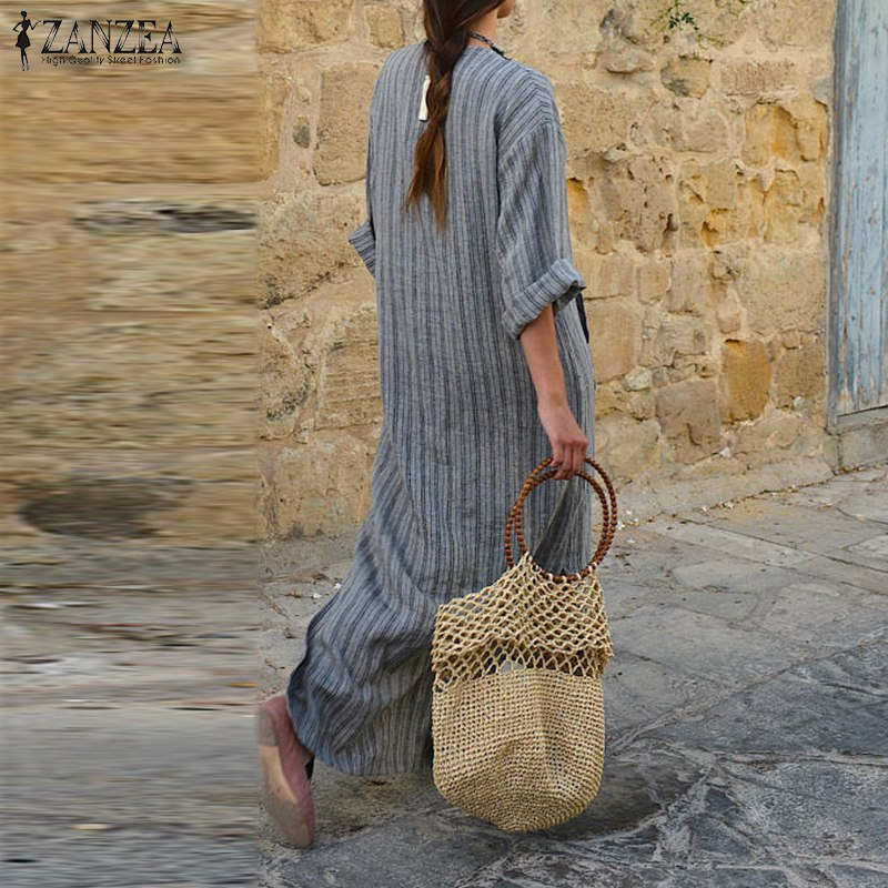 ZANZEA Women Striped Dress 2018 Autumn Vintage Casual Loose Maxi Long Dresses Sexy V Neck Long Sleeve Vestidos Plus Size 1