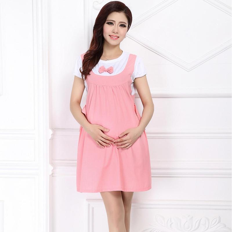 Maternity Clothing Casual Kvinnor Kläder Kneelängd Moderskap Klänning Nursing Dress Kortärmad Gravid Kvinnor Klänning Plus Storlek