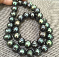 baroque 18 8 9 MM AAA SOUTH SEA Black green PEARL NECKLACE 925silver GOLD CLASP