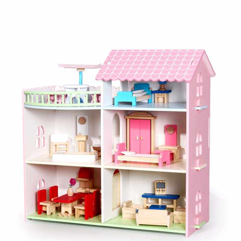 Pretend Play Furniture Toys Wooden Dollhouse Furniture Miniature Toy Set Doll House Toys for Children Kids Toy Big Dollhouse