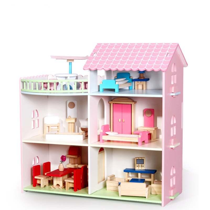Притворись Играть мебель игрушки деревянный кукольный домик Мебель Миниатюрные игрушка набор Кукольный дом игрушки для Для детей игрушка ...