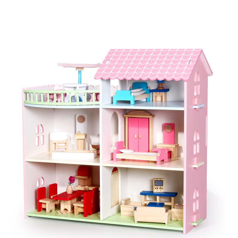 Pretend Play Furniture Toys Wooden Dollhouse Furniture Miniature Toy Set Doll House Toys for Children Kids Toy Big Dollhouse 100% new jintai dc power jack port vga usb board for dell inspiron 15r n5110 vostro v3550 pfyc8