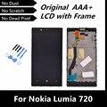 100% probó bueno LCD de repuesto para Nokia Lumia 720 LCD de pantalla táctil digitalizador asamblea con marco envío gratis