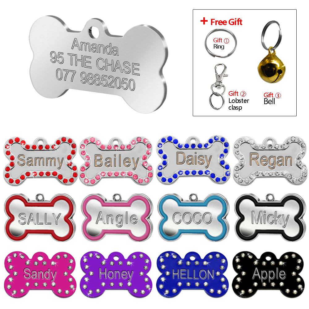 Engraved Dog Bone ID Tag Custom Dogs Puppy Name Tags Personalized Pet Cat Collar Pendant