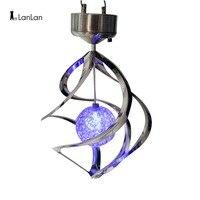 LanLan Solar Power lights Wind Spinner LED Lamp Outdoor Hanging Wind Chime Light for Home Garden Lighting Decoration-30