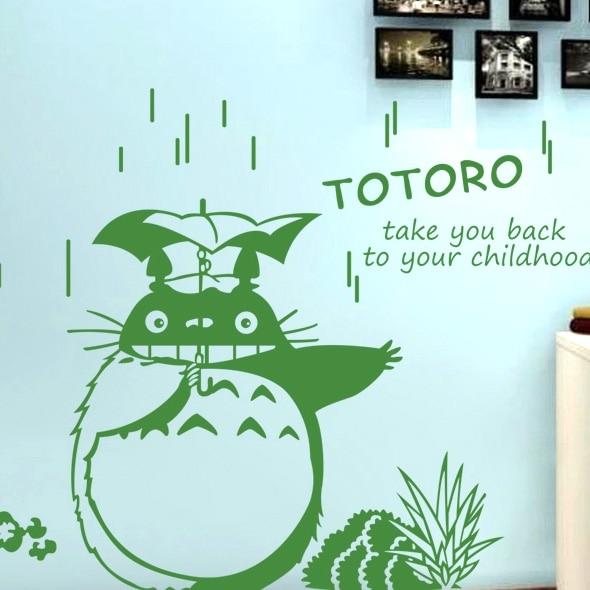 미야자키 하야오 만화 비 우산 침실 거실 벽 스티커 - 가정 장식