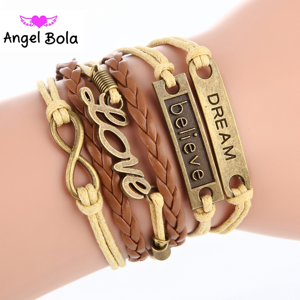 Wholesale 10Pcs Pryme Women Fashion Alloy Bracelets Jewelry Leather Multilayer Cords Infinity Bracelets&Bangle For Lover Gift