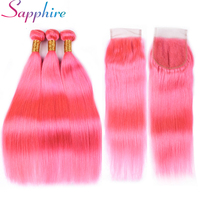Sapphire Pre Colored Pink Human Hair Straight Remy Human Hair Extension 3 Bundles Deals Weaving Bundles 3 Pieces One pack
