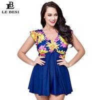 LE BESI 2017 3XL 7XL Plus Size Swimwear One Piece Swimsuit Floral Print High Waist Print