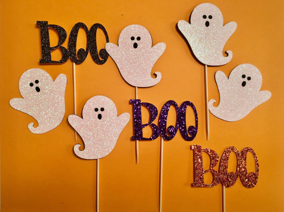 glitter ghost boo cupcake toppers birthday appetizer toothpicks halloween party picks decor in cake decorating supplies from home garden on aliexpresscom