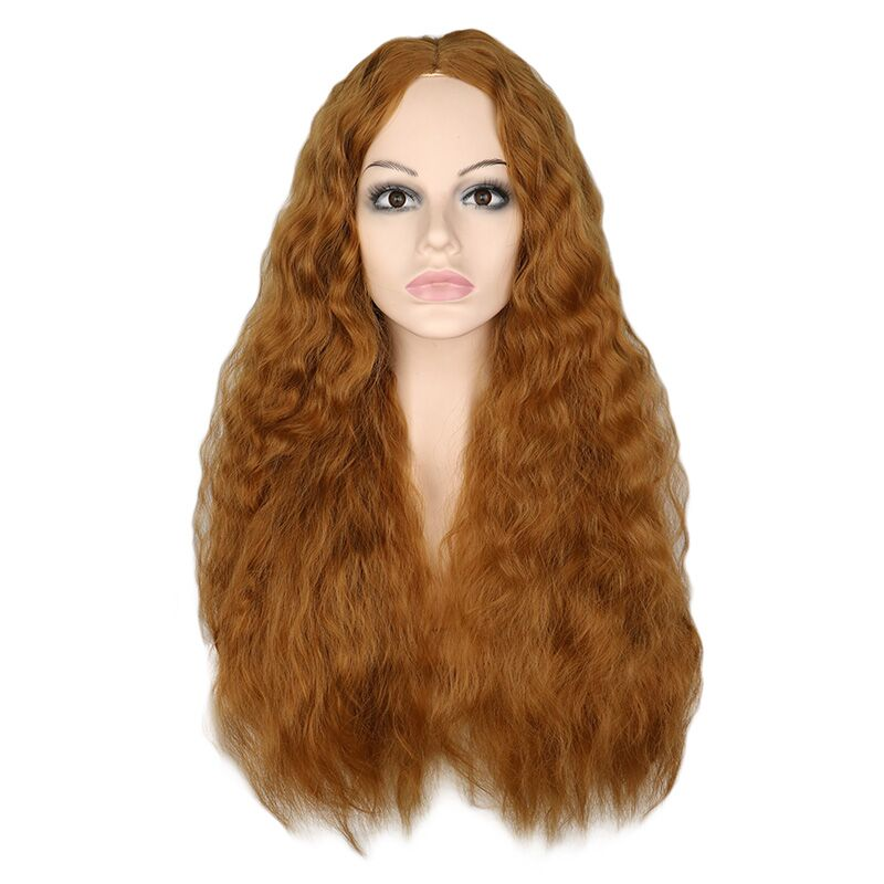 QQXCAIW Women Long Kinky Curly Wig Brown Middle Part Full Heat Resistant Hair Synthetic Wig