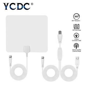YCDC Flat HD TV amplificado interior Digital TV Antena alta ganancia HDTV 50 millas rango ATSC DVB ISDB amplificador de señal desmontable