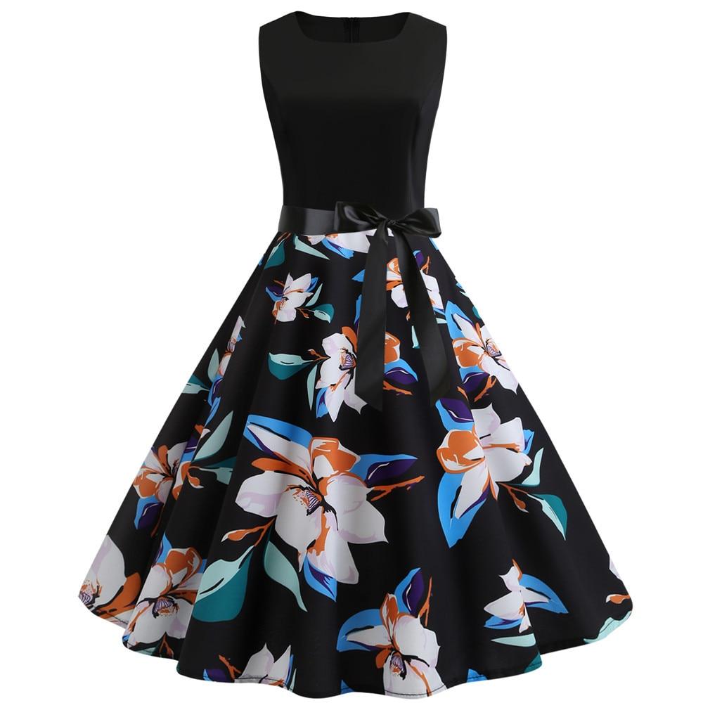 HTB1w431binrK1Rjy1Xcq6yeDVXa3 Women Summer Dresses 2019 Robe Vintage 1950s 60s Pin Up Big Swing Party Work Wear Rockabilly Dress Black Polka Dot Vestidos