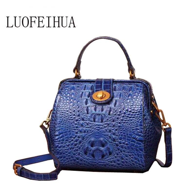 LUOFEIHUA  2020 new leather handbag Original crocodile pattern suede leather ladies shoulder Messenger bag Designer bags