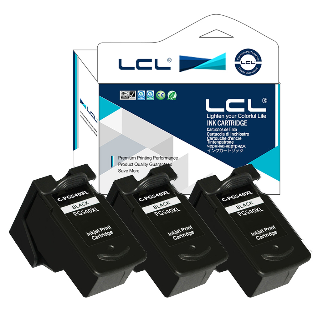 LCL PG540XL PG-540XL PG-540 (3-pack Black)Ink Cartridge Compatible for Canon Pixma MG2250/2150/3150/3250/4250/4150/MX435/375/515