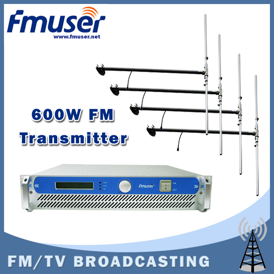 Free shipping FMUSER 2U FSN-600 FM Broadcast Radio Transmitter 87.5-108 MHz 0-600w +4 Bay DP100 Dipole Antenna + 30M 1/2'' CABLE free shipping fmuser fu 30c new 30w fm transmitter 0 30w adjustable for fm radio station 1 2 wave dipole antenna kit