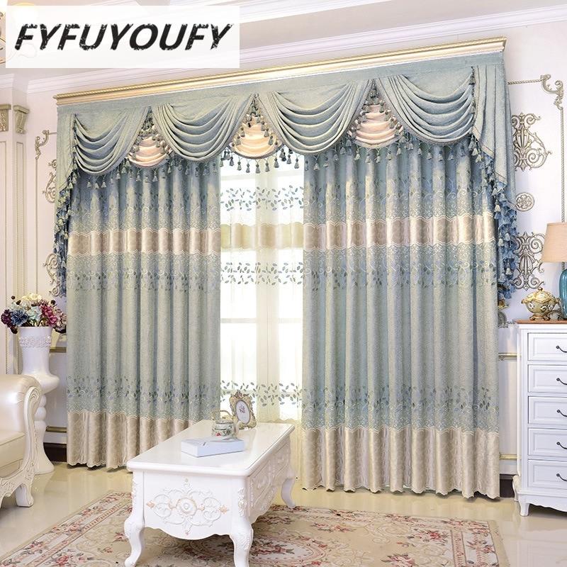 FYFUYOUFY cortinas de alto grado para el dormitorio de la sala de estar cortinas de bordado exquisitas para la cocina de tul fino tela de la ventana de la sombra