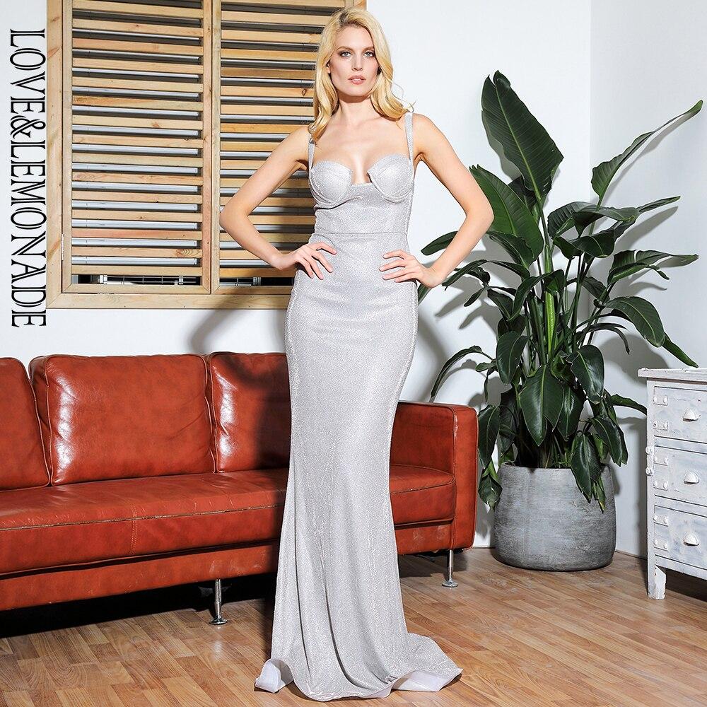 LOVE LEMONADE Tube Top Flash Elastic Material Bodycon Party Maxi Dress LM81851 SILVER