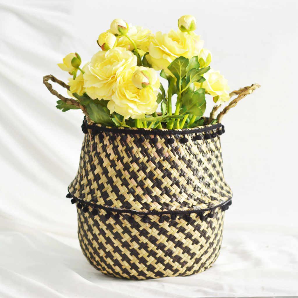 Seagrass Cesta De Vime Vaso de Flores Cesta de Dobramento Cesta De Armazenamento Sujo Decoração Fontes Do Jardim de Casa