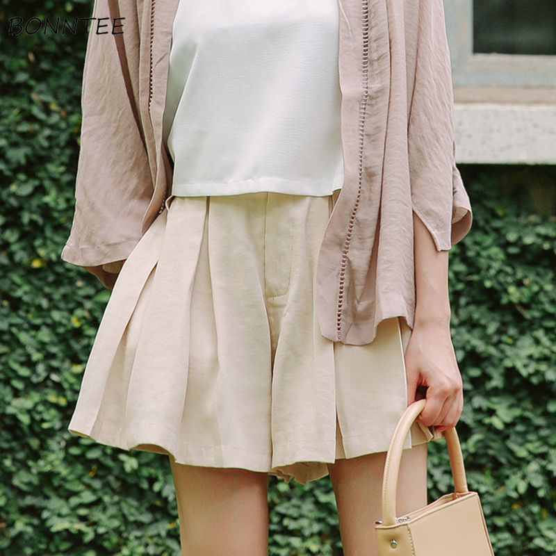 Shorts Women Wide Leg Short Girls Solid Color Trendy Elegant Womens Korean Style Pleated Student All-match Simple Leisure Summer