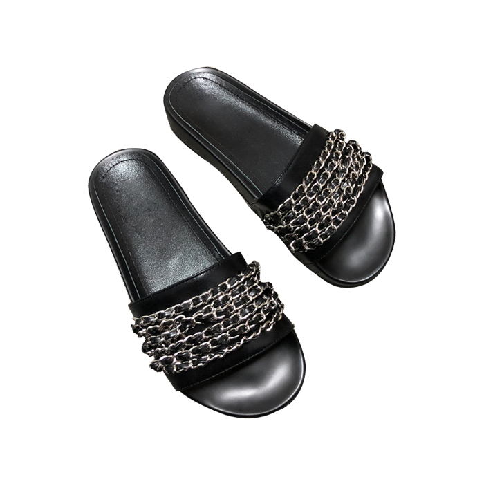 New Chains Braided Leather Slippers for Woman 2018 Summer Open Toe Flat Shoes Sexy Sequins Beaded Glidiator Slides Sandal new fashion big pearls beaded woman flat shoes 2017 sexy open toe sandal crystal embellished slides