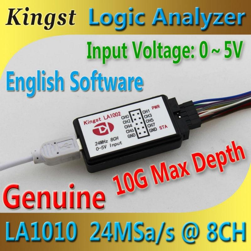 Kingst LA1002 USB Logic Analyzer 24M max sample rate,8 Channels,10B samples, MCU,ARM,FPGA debug tool, English software