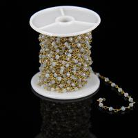 2x3mm Bulk Opal Color Glass Spinel Faceted Rondelle Beads Chain Brass Plated Wire Wrapped Rosary Chain