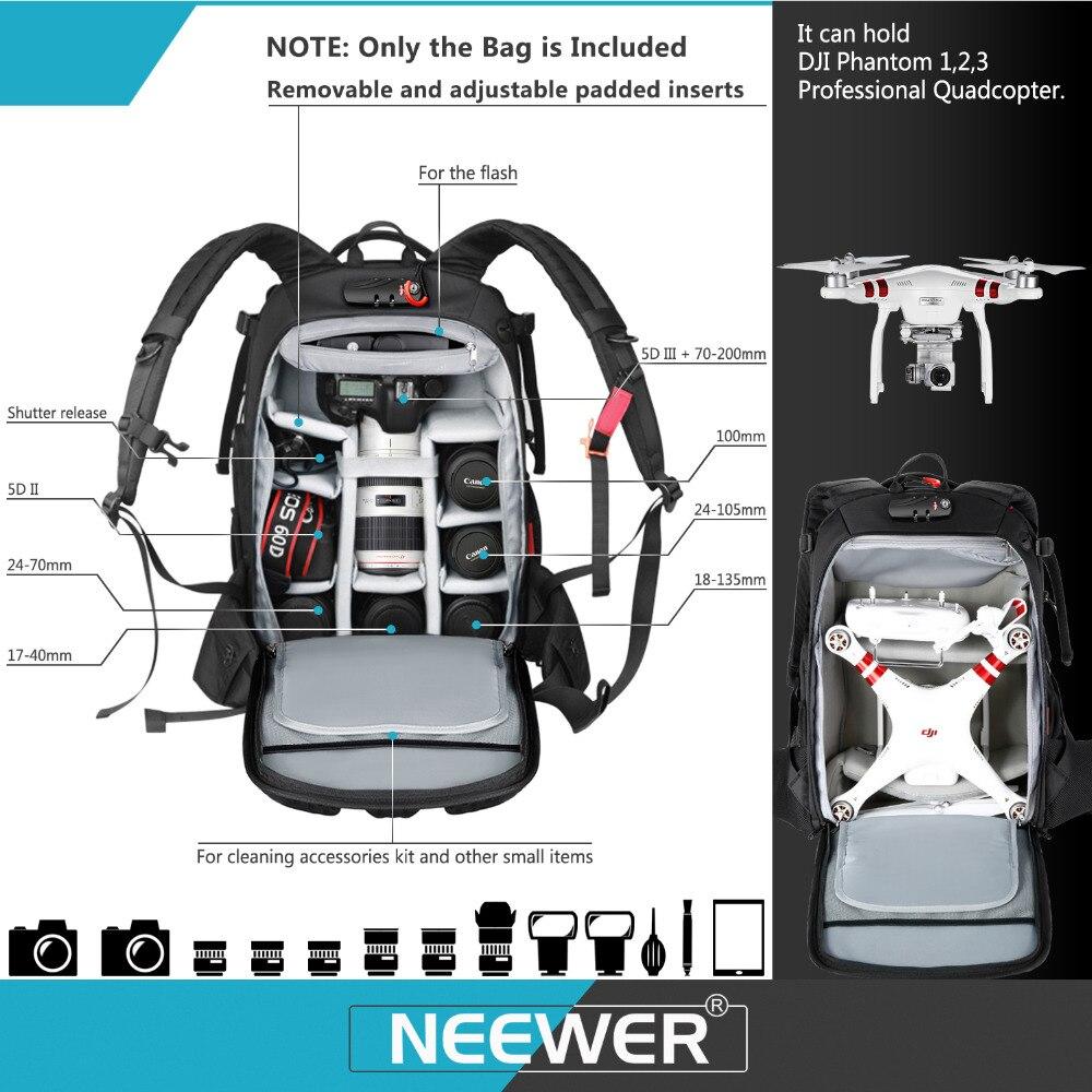 Neewer Pro étui pour appareil photo étanche antichoc réglable rembourré sac à dos pour appareil photo avec serrure à combinaison antivol pour DSLR DJI - 3
