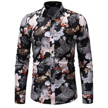 Casual Floral Mens Shirt Slim Fit Fashion Long-sleeved Male Flower Blouse Men New