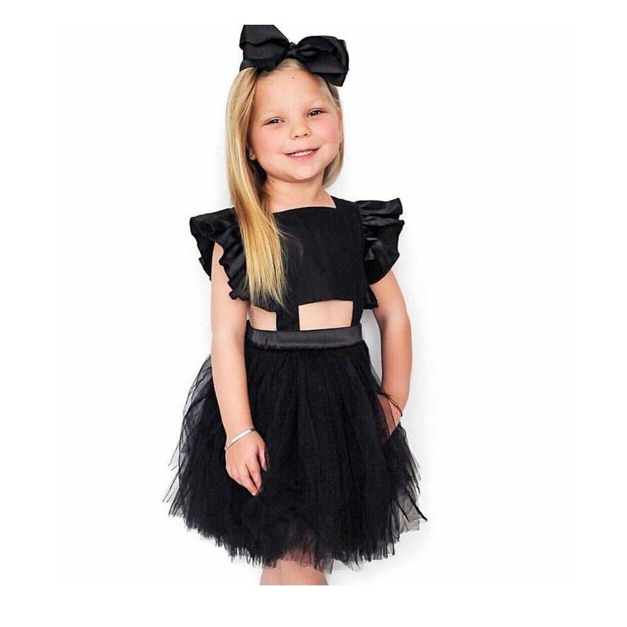 $9.5 за штуку vieeolove Платья для маленьких девочек пачка Кружево платье 2018 новые летние платья Детские летающие жилет платье vl-364