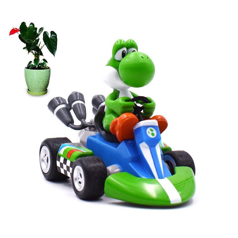 13 Cm Anime Super Mario Bros Kart Pull Back Car Yoshi PVC Action Figure Doll Collectible Model Toy Christmas Gift For Children