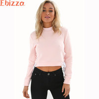 Ebizza Autumn Short Hoodies Women Girl Sexy Casual Pullovers O Neck Both Side Split Lace Up