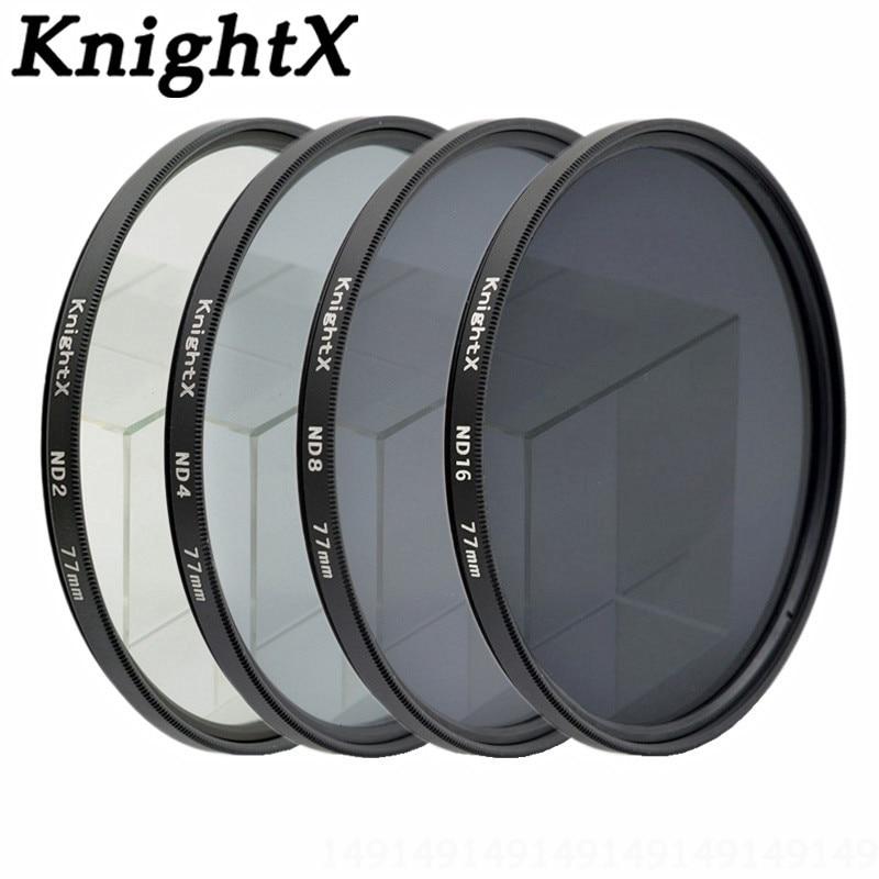 KnightX ND2 ND4 ND8 ND фільтр аб'ектыва 52мм 58мм 67мм нейтральнай шчыльнасці для Canon Нікан соні 70d D7100 D7200 D5200 D5300 D3300 D3200