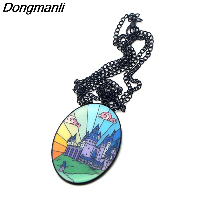P3479 Dongmanli Fashion Enamel HP Magic wizard castle Pendant Chain necklace For women Jewelry kids Gifts