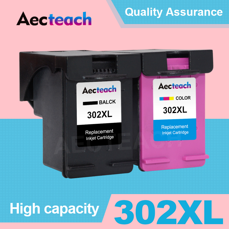 Aecteach 302XL Refill <font><b>Ink</b></font> Cartridge Replacement for <font><b>HP</b></font> 302 XL For HP302 Cartridges <font><b>Deskjet</b></font> 1110 1111 <font><b>2130</b></font> 3830 3834 4650 <font><b>Printer</b></font> image
