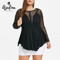 AZULINA Plus Size 5XL Mesh Insert Peplum Top Shirts Women New Long Sleeve Casual Ladies Tops