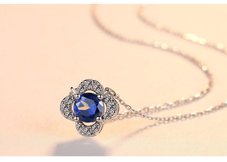 S925 серебряное ожерелье с синих камней простые женские ожерелье CS54